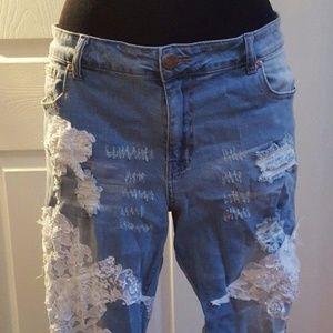 CUSTOM Boho Festival Beaded Lace Destroyed Jeans